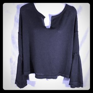 Free People Dahlia Black Bell Sleeve Top, Size Sml